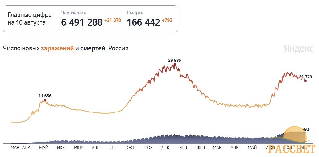 Статистика коронавируса в России на 10 августа 2021 года, сколько заболевших и смертей на сегодня